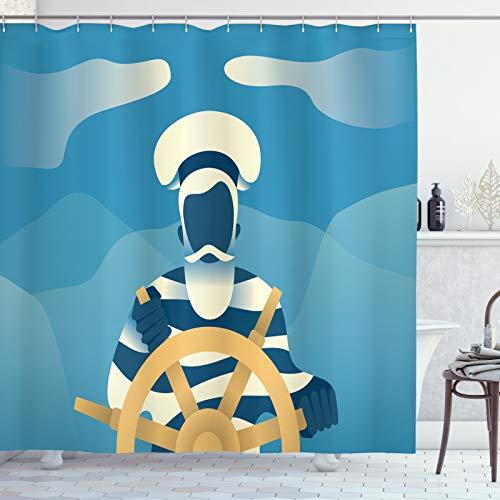 ABAKUHAUS Blue Nautical Douchegordijn, Zeeman in de Oceaan, stoffen badkamerdecoratieset met haakjes, 175 x 200 cm, Pale Orange Cream Blue