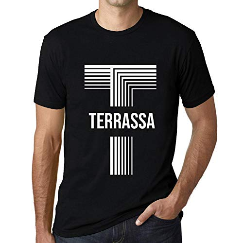 One in the City Hombre Camiseta Vintage T-Shirt Gráfico Letter T Countries and Cities TERRASSA Negro Profundo