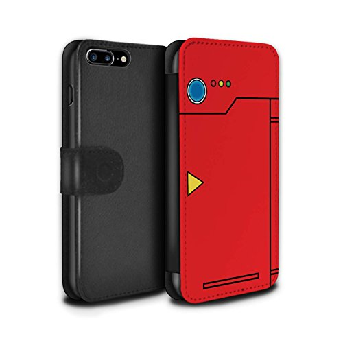 Phone Case Wallet for Apple iPhone 8 Plus Anime Cartoon Codex Red Design Flip Faux PU Leather Cover