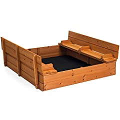 CONVERTIBLE SEATING: Designed with a split cover that unfolds and turns into 2 benches for up to 4 children or 2 adults PROTECTION AND DRAINAGE : Built with a screen to help keep sand inside of the play area while allowing moisture to drain into the ...