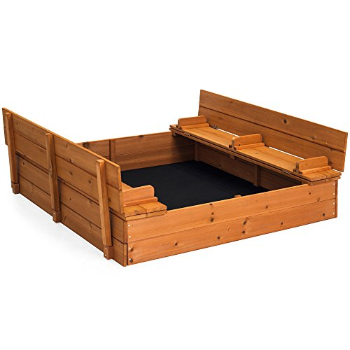 Best Choice Products 47x47in Kids Large Wooden Outdoor Play Cedar Sandbox w/Sand Screen, 2 Foldable Bench Seats - Brown