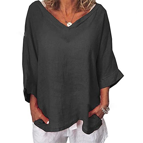 Women Tops Comfortable Breathable Spring Summer Solid Color V Neck Women Blouse Unique Batwing Sleeve Design Everyday Casual Light Versatile Women T-Shirts A-Black XL