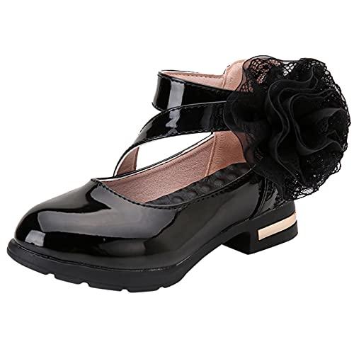 Zapatos Princesa niñas Zapatos Princesa niñas Bonita con Flor Zapatos Tacon niña Baile Latino Tango Zapatos de Baile Elegantes Bonita Antideslizante Zapatos de Bautizo de Cuero de comunion niña