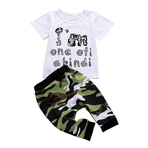 Demiawaking La Cabina 2pcs Ensemble Bébé Garçons T-Shirt + Pantalon, Vêtement Blanc Lettre Imprimeé à Manches Courtes Pantalons de Camouflage en Coton Enfants été Printemps