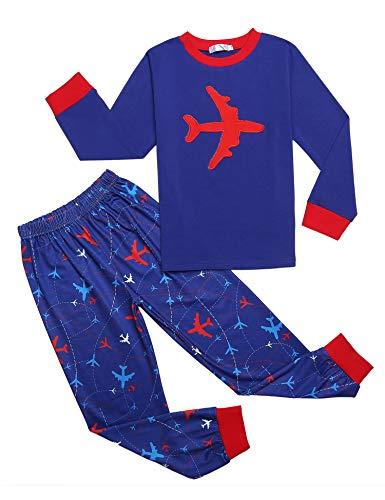 trudge Schlafanzug Jungen Langarm Kinder Zweiteiliger Nachtwäsche Pyjama Sets, Blau Flugzeug, 130