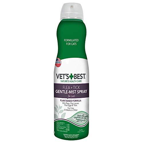 Vet's Best Flea and Tick Gentle-Mist Spray for Cats | Flea Killer with Certified Natural Oils | Gentle-Mist Spray for Easy Application and Control | 6.3 Ounces