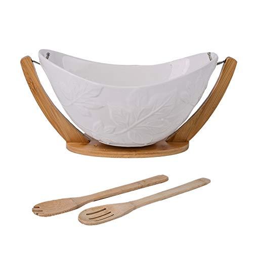 Kuinayouyi - Cuenco de servir para ceramica colgante de ensalada y cuenco para ensalada de bambú con soporte, bandeja de frutas, cuna decorativa con cuchara