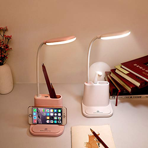 XYQ USB Opladen LED Bureaulamp Touch Dimming Bureaulamp Mobiele Telefoon Stand Leeslamp Wit