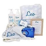 Soft And Happy de Mababy - Canastilla Personalizada de Recién Nacido - Cesta Regalo Bebé Personalizado (Azul)
