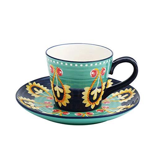Hong Yi Fei-Shop Tazas de Espresso Pintado Plato Americana Taza de café con la Cuchara Taza de cerámica de la Taza de té de la Leche platillo Taza de Porcelana