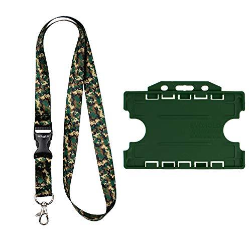Rolseley Lanyard Halsband Camouflage Patroon met Metalen Clip + Donker Woud Groen Dubbele Kaarthouder