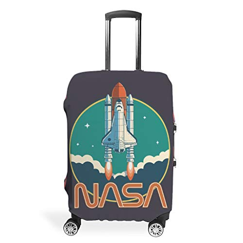 NiTIAN Luggage Covers Washable Spandex Travel Suitcase Protector Jacket Anti-Water Case NASA Rocket 3D Printing White 19-21in