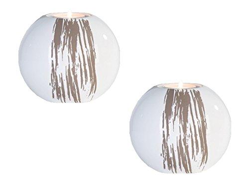 Windlicht Stripes im 2er Set, weiß 12 cm/Teelicht Halter Tischdeko