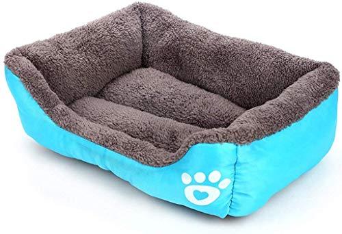 YLCJ Candy Color Voetafdruk Pet Nest Hondenbedden Pluche, verwijderbaar, wasbaar, gemakkelijk schoon te maken Kleine en middelgrote honden (Kleur: oranje, Grootte: XL: 80 * 65 * 14 cm), L:68*55*16cm, Blauw