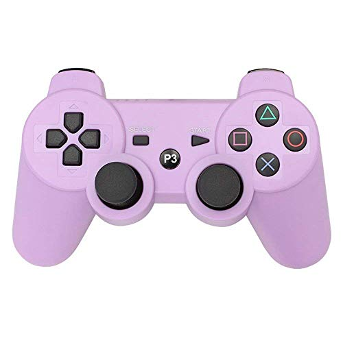 PS3 Controller Wireless Double Shock Gamepad for Playstation 3, Wireless PS3 Controller with Charging Cable (Purple)