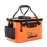 KAIYAN Secchio da pesca pieghevole con coperchio, 28 l, borsa da pesca, impermeabile, per esterni, campeggio, lavandino, vasca pieghevole, accessorio (45 cm, arancione)