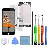 Lansupp Pantalla para iPhone 7 Plus Negro, Táctil LCD Reemplazo con Cámara Frontal, Sensor de proximidad, Altavoz y Kit de reparación