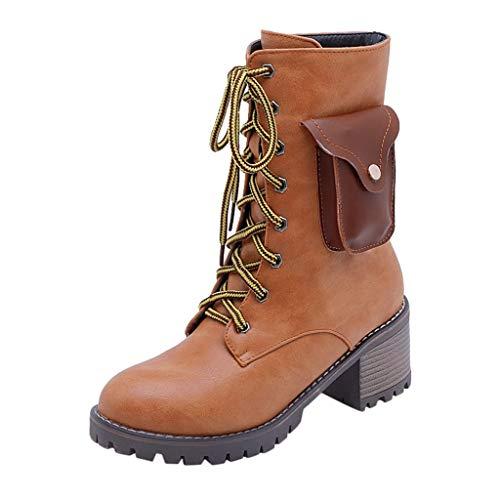 Frauen Winter Warme Stiefel Damen Smart Batterie Elektro Heizung Booties Schuhe Warme Schnürschuhe Martin Stiefel(41 EU,Braun)