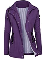 RAGEMALL Women's Raincoats Windbreaker Rain Jacket Waterproof Lightweight Outdoor Hooded Trench Coats Purple XXL