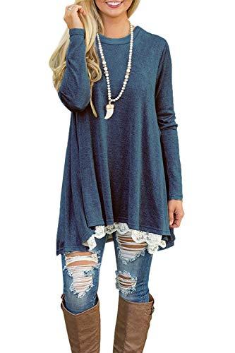 NICIAS Damen Lange Ärmel T-Shirt Pullover Rundhals Spitze Tunika Top Lässige Oberteil Bluse Shirt Blau, Small