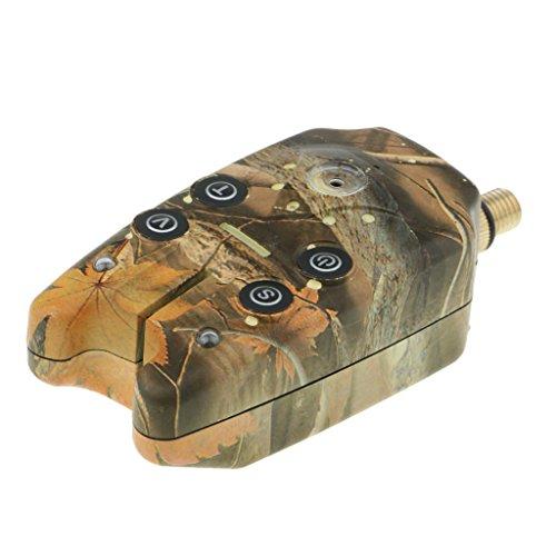 MagiDeal Détecteur Electronique Sensible Alarme de Touche de la Canne à Pêche Sondeur Indicateur pour Pêche de Nuit ou Journée - Camouflage, 10.5x5cm