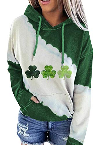 YMING Women's St. Patrick's Day Casual Sweatshirt Pullover Long Sleeve Hoodie Slouchy Top Clover 2XL