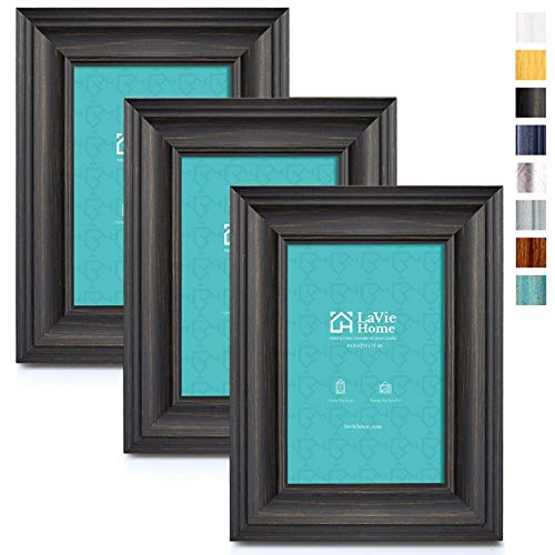 LaVie Home 4x6 Picture Frames (3 Pack, Black Wood Grain) Rustic Photo Frame Set with High Definition Glass for Wall Mount & Table Top Display
