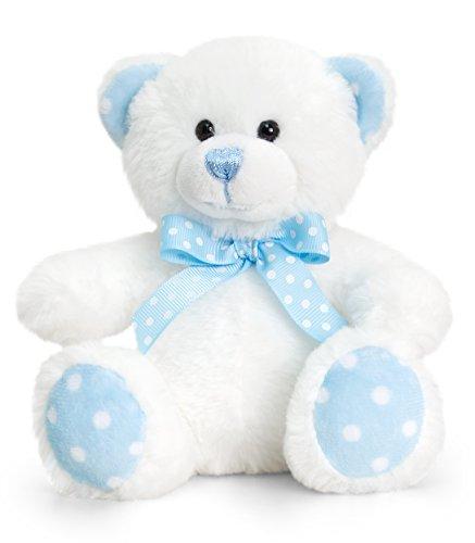 Lashuma Keel Baby Plüschtier Bär Beige - Blau, Kuscheltier Teddy sitzend 15 cm