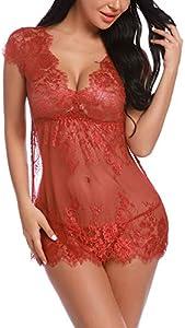 Sykooria Conjunto de lencería de Encaje Sexy Babydoll Nightwear Chemise Deep V- Cuello camisón