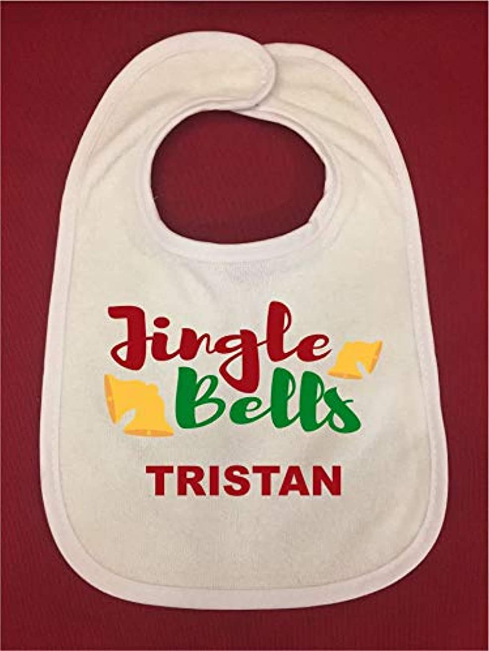 Personalized Holiday Baby Bibs, Personalized Baby Shower Gift, Mother's Day Gift, White Infant Bib