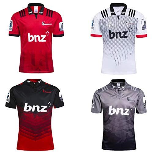 JUNBABY 2018 Crusaders Rugby Trikot, 2017 Super Rugby T-Shirt, Herren Sporthemd-red-XL