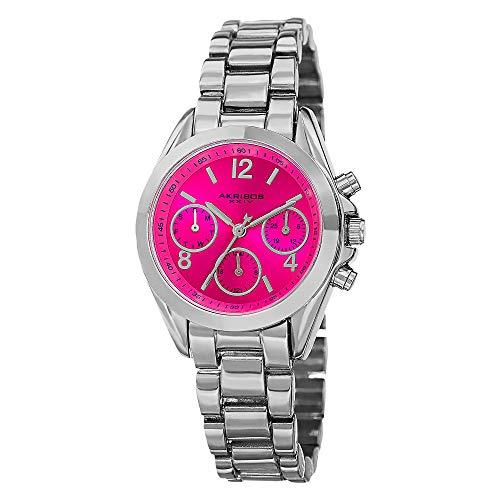 Akribos XXIV Ador - Reloj de cuarzo suizo con pantalla analógica y pulsera de aleación para mujer