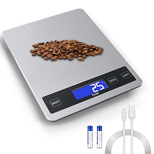TLOG Rechargeable Food Scale 22lb10kg Digital Kitchen Scale Weight Grams and oz for Cooking Baking 1g01oz Precise Graduation Stainless Steel Surface and Tempered Glass with Large LCD Display