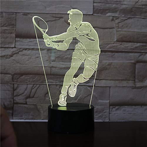 Jugador de Tenis Figura luz Nocturna remota decoración de la habitación de...