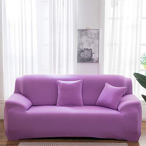 XJHKG Funda De Sofá, Universal High Stretch Elástica Cubierta para Sofá Chaise Longue Protector para Sofá con Cuerda De Fijación (Violeta,4 Plazas)