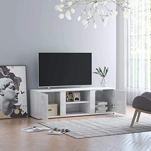 vidaXL TV Cabinet Easy to Clean Furniture Bedroom Living room Hifi Sideboard Media Stand Storage Unit Lowboard High Gloss White 120x34x37cm Chipboard