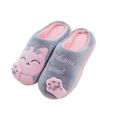MoneRffi Unisex Katzen Hausschuhe Damen Winter Warm Plüsch Pantoffeln Paar Hausschuhe Weiche Bequeme Katze Pantoffeln rutschfeste Hausschuhe für Herren Mädchen Jungen