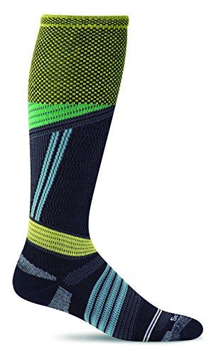 Sockwell Mens Alpine Cushioned Ski Graduated Compression Socks, Black, Medium/Large