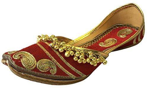 Step n Style Donna Rosso Ghungroo Punjabi Jutti Rajasthani Khussa Scarpe Ethnic Mojari Sandali Piatti, Rosso (Rosso), 40 EU