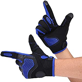 Daphot-Store - 1 Pair of Non-slip Full Finger Touch Screen Gloves for Motorcycle Cycling Racing Outdoor Sports Breathable Red/Blue/Black M L XL
