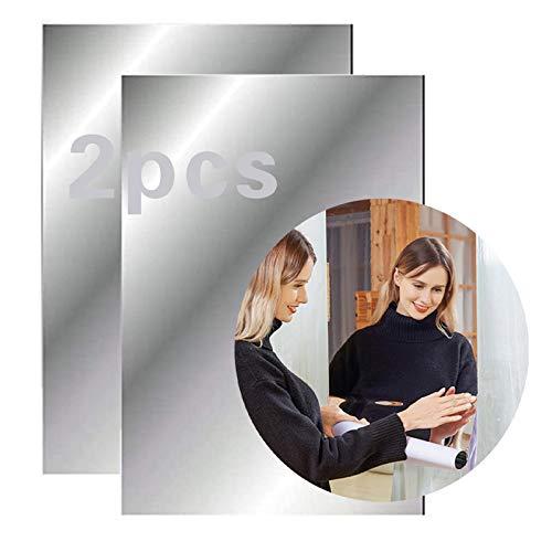 2 hojas de espejo autoadhesivas, pegatinas de pared de espejo flexibles, suaves no de vidrio para decoración del hogar