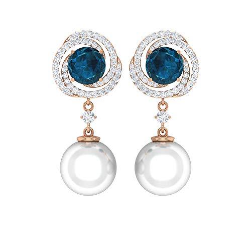 Rosec Jewels 14 quilates oro rosa redonda round-brilliant-shape H-I Blue White Diamond Topacio azul - Londres Perla de agua dulce