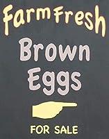 農場の新鮮な茶色の卵、ブリキのサインヴィンテージ面白い生き物鉄の絵画金属板ノベルティ