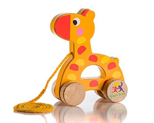 Wooden Pull Along Giraffe Toy - Beautiful Giraffe Pull Along Toy for Baby...