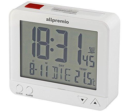 Funkwecker Digital – kompakter Funk Uhr Wecker mit Licht Schlummerfunktion Snooze Alarm Datum und Temperatur großes Display beleuchtet – Weiß