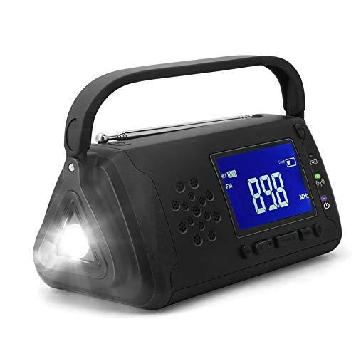 Radio solar de emergencia con manivela,radio meteorológica AM/FM,radio portátil de supervivencia con linterna LED,cargador de teléfono celular,alarma SOS para el hogar y emergencias(EU Versión)