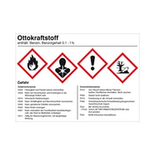 Aufkleber Ottokraftstoff für Behälter mit einem Fassungsvermögen bis 50 Liter Gefahrstoffaufkleber Größe: 14,8 x 10,5cm Folie