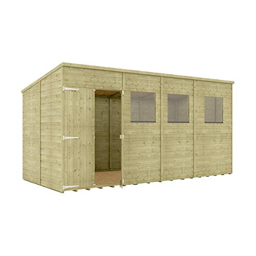Project Timber 14 x 6 Pressure Treated Hobbyist Pent Shed Tongue & Groove Shiplap Cladding Construction Offset Door OSB Floor Wooden Garden Shed 4.26m x 1.82m