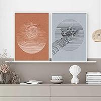 抽象的な図顔手幾何学的なキャンバス絵画北欧の壁アート写真ポスターとプリントインテリア家の装飾20x30cmx2pcsフレームなし