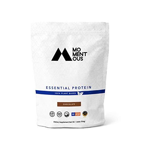 Momentous Essential Plant-Based Pea and Rice Protein Powder, Vegan, Gluten-Free, Non-GMO, NSF Certified, All Day Essential Use Protein Powder for Men and Women (Chocolate, Bag)